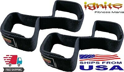 Padded Cuff Weight Lifting Training Gym Straps Hand bar Grip Gloves Support Fig8, used for sale  Shipping to India