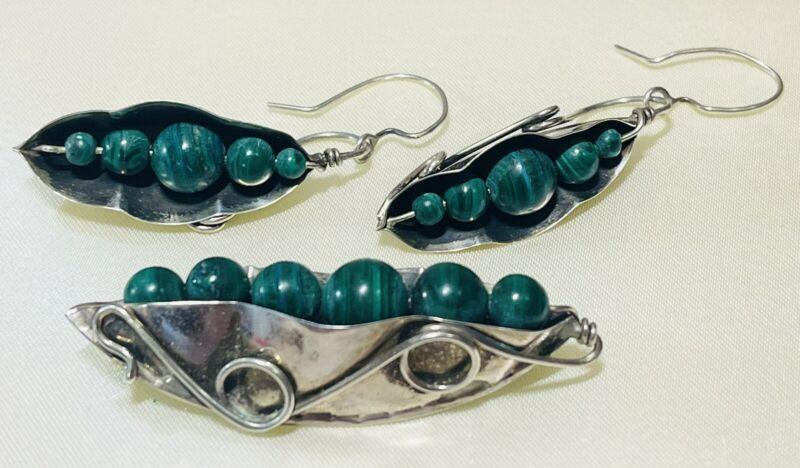 Great Falls Metal Works Pea Pod Brooch Earrings Set Sterling Silver Malachite