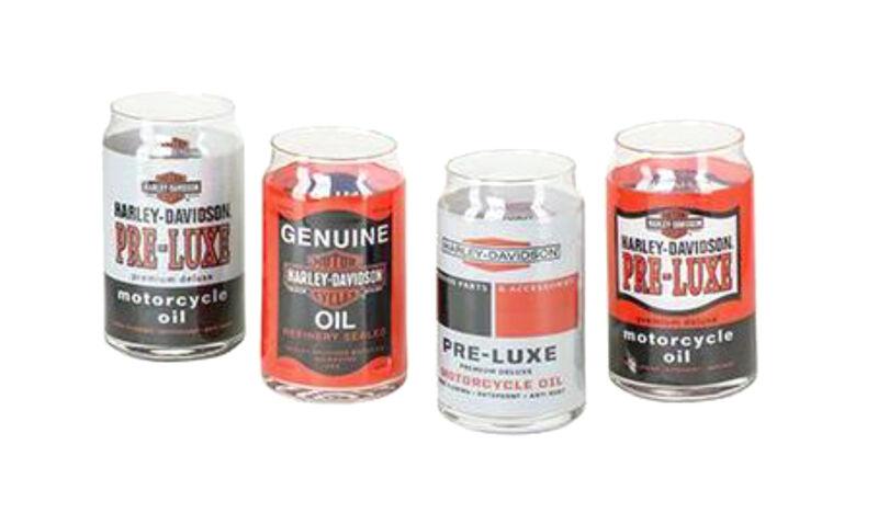Harley-Davidson® Bar & Shield Oil Can Graphics 16 oz Glass Set of 4 HDX-98714