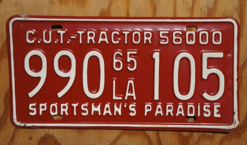 1965 Louisiana RED License Plate - HIGH QUALITY