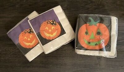 3 Packs (80) NEW Vintage Hallmark Party House Halloween Napkins JACK O LANTERNS