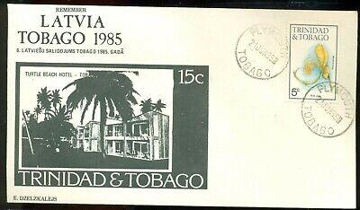 REMEMBER LATVIA LATVIAN GATHERING TOBAGO 1985 COVER TRINIDAD TURTLE BEACH HOTEL