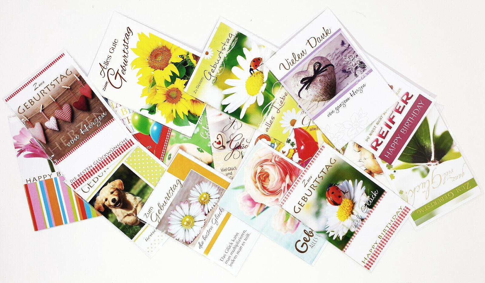30 Stk. Geburtstagskarten Grußkarten Glückwunschkarten Karten Set mit Umschlag