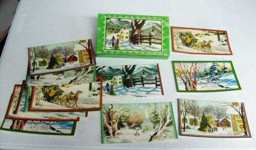 Vintage Christmas Cards Unused in Box - Guard WINTER SNOW Scene
