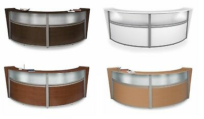 10' Double Unit Reception Desk with Plexi Glass Window WALNUT WHITE CHERRY MAPLE