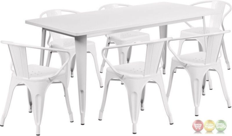 White Powder Coated Metal Patio Dining Table Set With 6 Stackable Arm Chairs