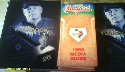 LOT 1990 TEXAS RANGERS MEDIA GUIDE 4CT+ 2 2005 YEARBOOK HARD TO FIND