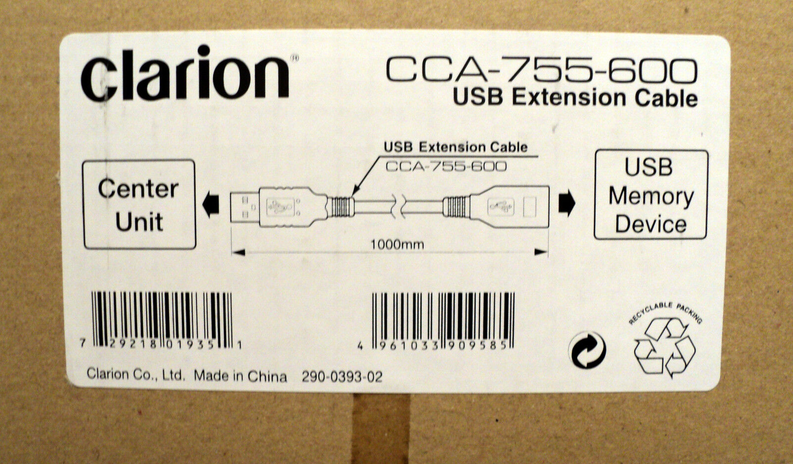 Clarion Cca-755-600 Usb Extension Cable, 3.25ft. (2m)