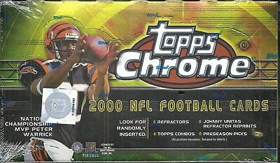 2000 Topps Chrome Factory Sealed Football Hobby Box Brian Urlacher RC ROOKIE - Chrome Football Cards Hobby Box