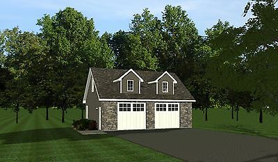 2-car garage plans 30x24 w/ Loft design 720 sf #1032