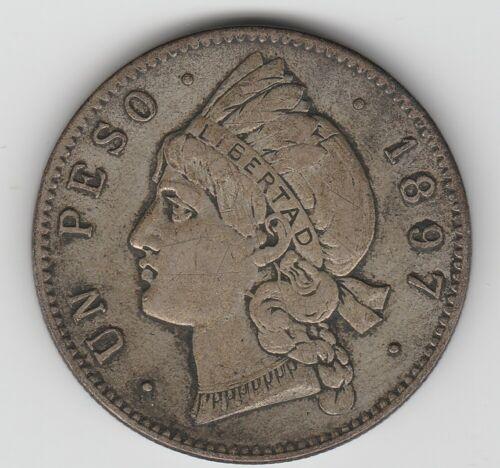 Dominican Republic 1897 A 1 Peso KM-16 Silver Coin