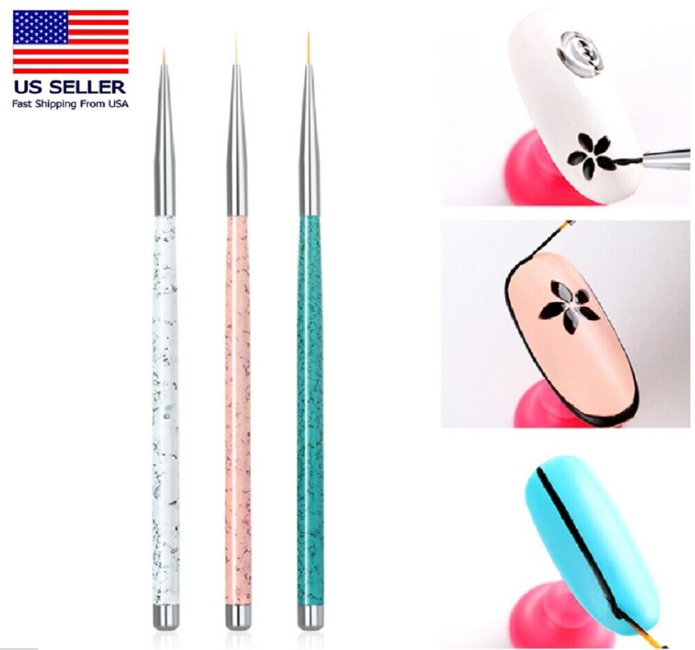 3PCS Nail Art Pen Dotting Painting Drawing UV Gel Liner Polish Brush Tool Set M Health & Beauty