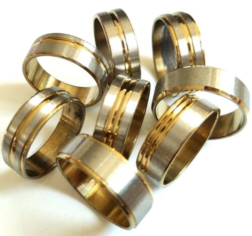 Wholesale 100pcs Gold Mix 8mm Men Women Stainless Steel Band Rings Man Jewelry