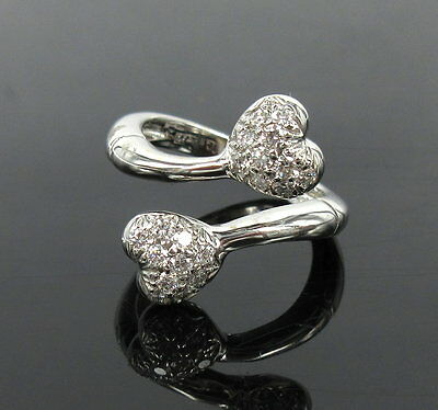 - Rare Gerard 0.45ct Perfect Cut Diamond & 18K White Gold Twin Heart Ring