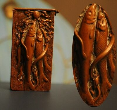 Rare antique vesta case of EEL & CARP - Match safe Snake fishing box 1900