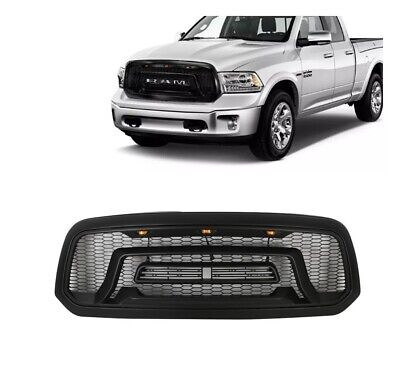 Grille Fit For Dodge Ram 1500 2013-2018 Front Grille Rebel Style Honeycomb W/LED