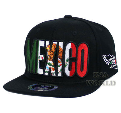 MEXICAN hat MEXICO Flag hat Embroidered Snapback Flat bill Baseball cap- Black