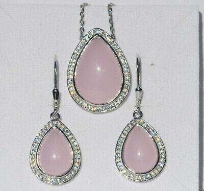 Echt 925 Sterling Silber Set rosa Zirkonia Ohrringe Anhänger Hochzeit Nr 277