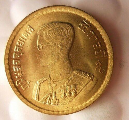 1957 THAILAND 25 SATANG - AU/UNC - Great Coin - FREE SHIPPING - Thailand Bin #1
