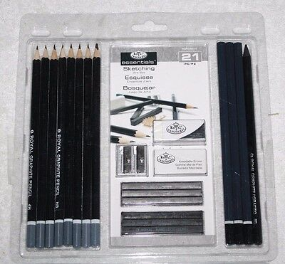 Royal & Langnickel Essentials Sketching Pencil Set, 21-Piece NEW Free Shipping