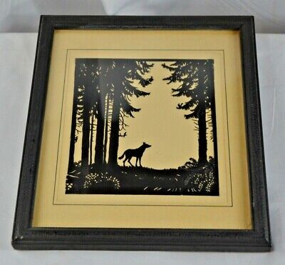 ANTIQUE SILHOUETTE CUTOUT PICTURE WOODLAND WOLF, BIRDS SQUIRRELS 9.5