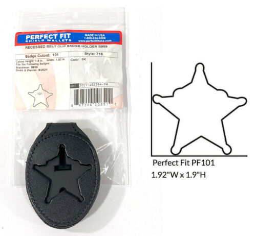 PERFECT FIT 716 LEATHER SHIELD BELT CLIP BADGE HOLDER B957 CUT 101  5 POINT STAR