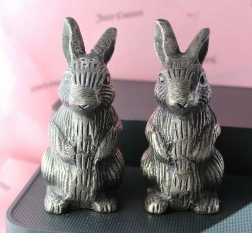 EUC Pottery Barn Bunny Rabbit Salt and Pepper Shakers Metal