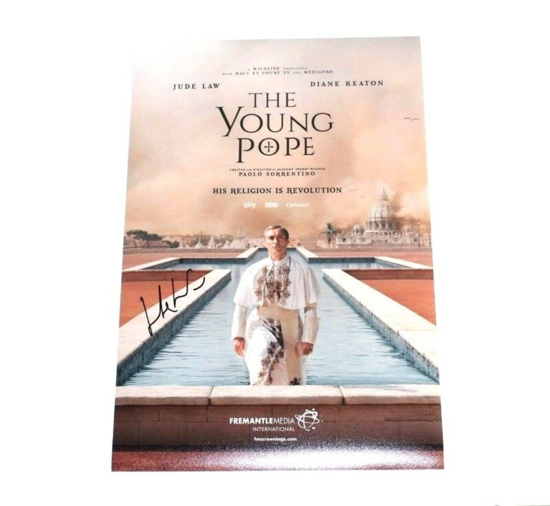 DIRECTOR PAOLO SORRENTINO SIGNED 'THE YOUNG POPE' 12x18 SHOW POSTER COA JUDE LAW