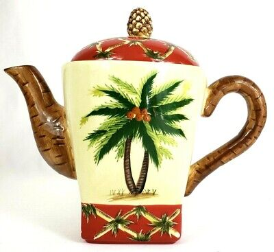 Pacific Rim China Teapot Coffee/Teapot With Lid Palm Trees No Box - Pacific Coffee China