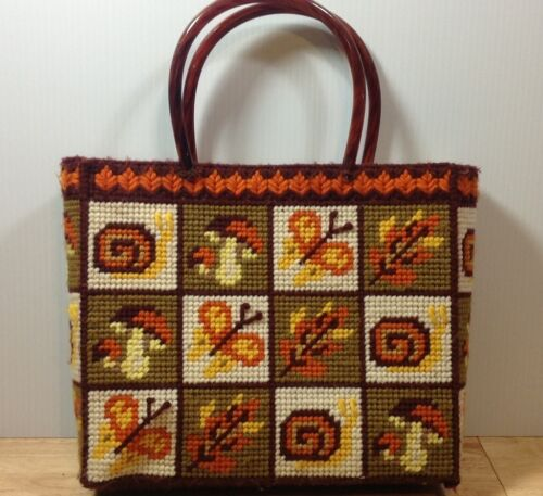 Needlepoint Plastic Canvas Purse Tote VTG Snail Mushroom Butterfly 1960s 70s