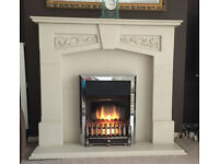 Cream Fireplace complete with working flame effect electric fire £100