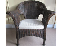 Wicker armchair AND MATCHING storage trunk/chest from M&S. Perfect in conservatory, hallway, bedroom