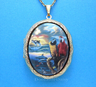 Porcelain Macaw PARROTS/ORCA WHALE/DOLPHINS CAMEO Locket Necklace Birthday - Whale Gifts