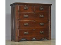 Attractive Large Antique Edwardian Solid Oak Chest Of Five Drawers