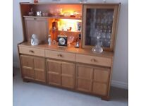 Nathan Sideboard with Cupboards Drinks Cabinet Shelving Glazed Cupboard & Lighting Reasonable Offers