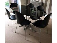 Dwell Black Glass & Chrome Dining Table & 6 Matching Chairs FREE DELIVERY 286