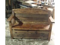 Reclaimed wood, Garden bench with storage.