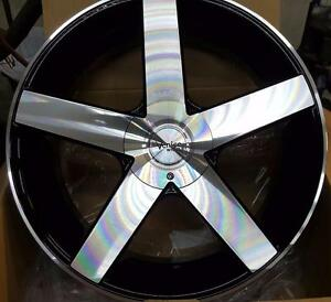 New! BLACK AND MACHINED 5 spoke 22 rim/tire mustang charger challenger