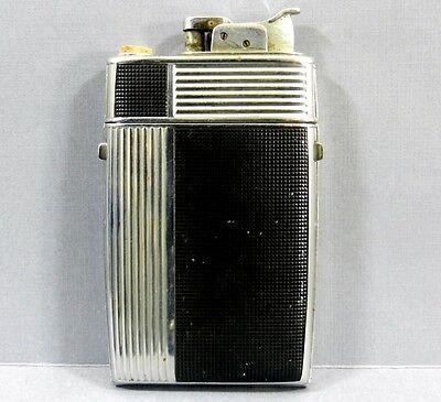 Vintage Evans Art Deco Trig-a-lite Cigarette Case Lighter Black & Silver Combo
