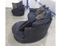 DFS - L-Shape Corner Black Fabric Suede sofa with Swivel Chair