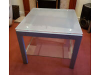 Glass/metal coffee table + 2x matching glass/metal side tables