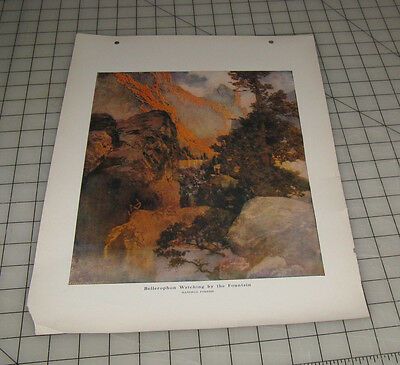 Bellerophon Watching By The Fountain  Maxfield Parrish Am Art Portfolio Print