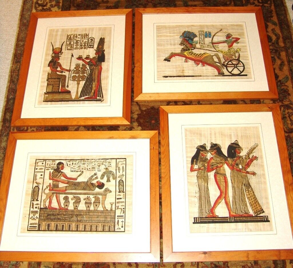 Egyptian Replica Paintings on Real Papyrus - Four Panels ...