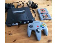 N64 Console, official Nintendo controller and pokemon snap and Pokemon Stadium games