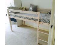 Loft single bed frame, pine wood