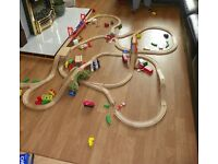 Large Wooden Train Set, over 100 pieces