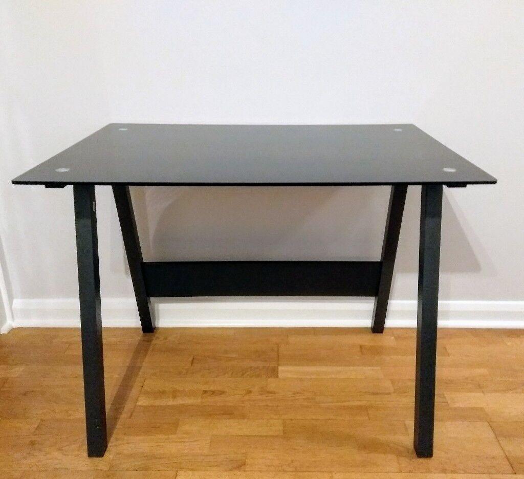 Black Tempered Glass Desk Like New