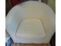 GOOD COMFY CONDITION, A NICE SOFT CREAM MATERIAL TUB CHAIR