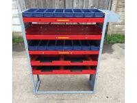 Van Racking / Shelving - BOTT - 5 Shelves - 16 Storage Boxes - Heavy Duty - Very Good Condition