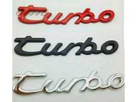 Porsche style turbo badging, 3 for £10 boxster,carrerra, cayenne, 911, 944,